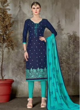 Aqua Blue and Navy Blue Salwar Kameez