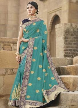 Aqua Blue and Navy Blue Traditional Designer Saree