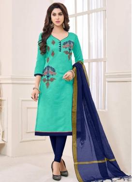 Aqua Blue and Navy Blue Trendy Churidar Salwar Kameez For Casual