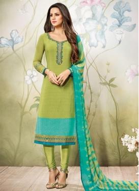 Aqua Blue and Olive Crepe Silk Pakistani Suit