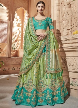 Aqua Blue and Olive Embroidered Work Jacquard Silk Trendy A Line Lehenga Choli