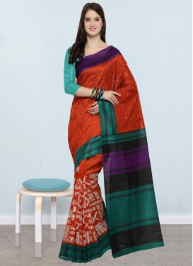Aqua Blue and Orange Contemporary Saree For Casual
