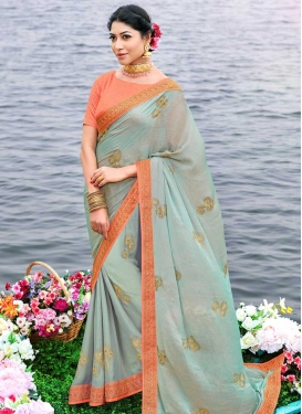 Aqua Blue and Orange Lace Work Designer Contemporary Saree