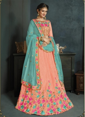 Aqua Blue and Peach Embroidered Work Trendy Lehenga Choli