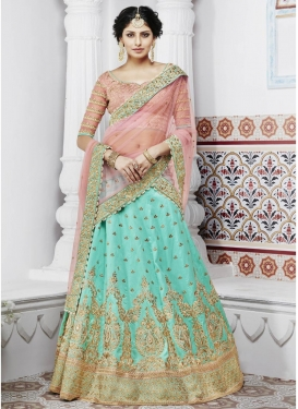Aqua Blue and Pink  Art Silk A Line Lehenga Choli