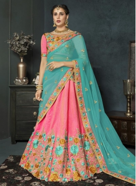 Aqua Blue and Pink Embroidered Work Designer Classic Lehenga Choli