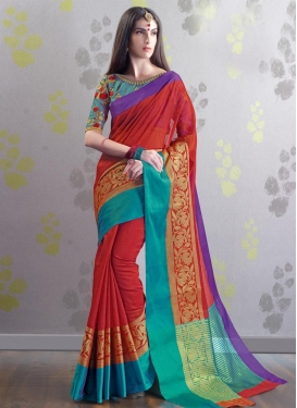 Aqua Blue and Red Traditional Saree