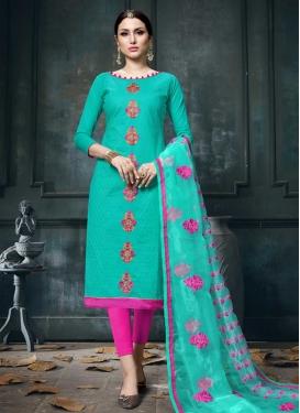 Aqua Blue and Rose Pink Cotton Trendy Churidar Salwar Kameez
