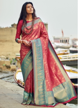 Aqua Blue and Rose Pink Designer Contemporary Saree
