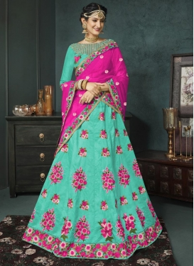 Aqua Blue and Rose Pink Embroidered Work A - Line Lehenga