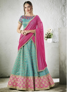 Aqua Blue and Rose Pink Embroidered Work Jacquard Silk Trendy A Line Lehenga Choli