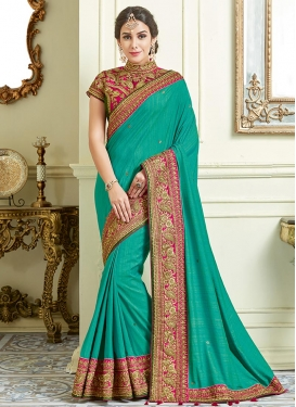 Aqua Blue and Rose Pink Silk Classic Designer Saree