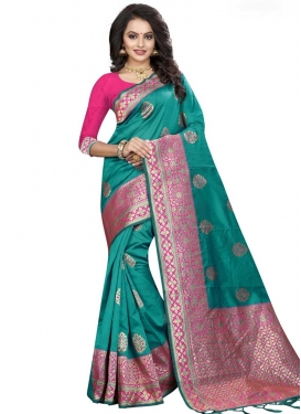 Aqua Blue and Rose Pink Thread Work Traditional Designer Saree