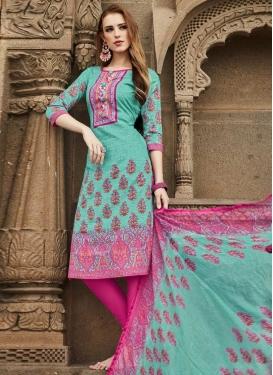 Aqua Blue and Rose Pink Trendy Churidar Salwar Kameez For Casual