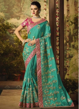 Aqua Blue and Rose Pink Trendy Classic Saree