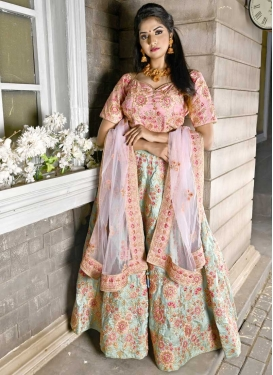 Aqua Blue and Salmon Embroidered Work A Line Lehenga Choli