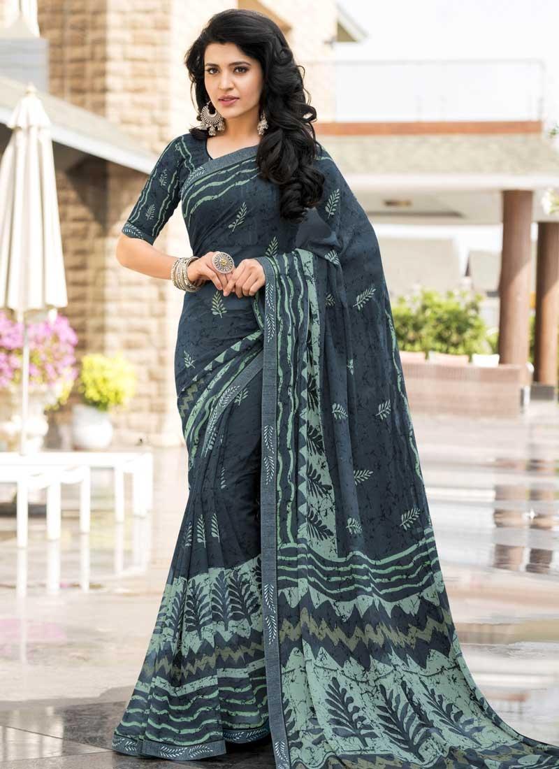 Aqua Blue and Teal Designer Contemporary Style Saree For Festival