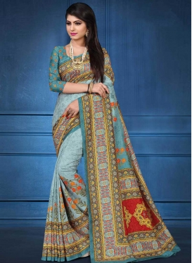 Aqua Blue and Teal Digital Print Work Classic Saree