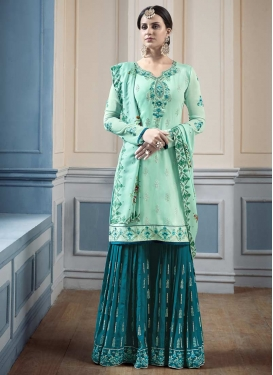 Aqua Blue and Teal Faux Georgette Sharara Salwar Kameez