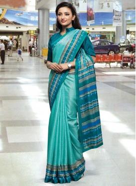Aqua Blue and Teal Traditional Designer Saree