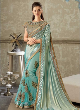 Aqua Blue and Turquoise Half N Half Designer Saree For Festival
