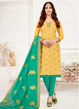 Aqua Blue and Yellow Lace Work Trendy Churidar Suit