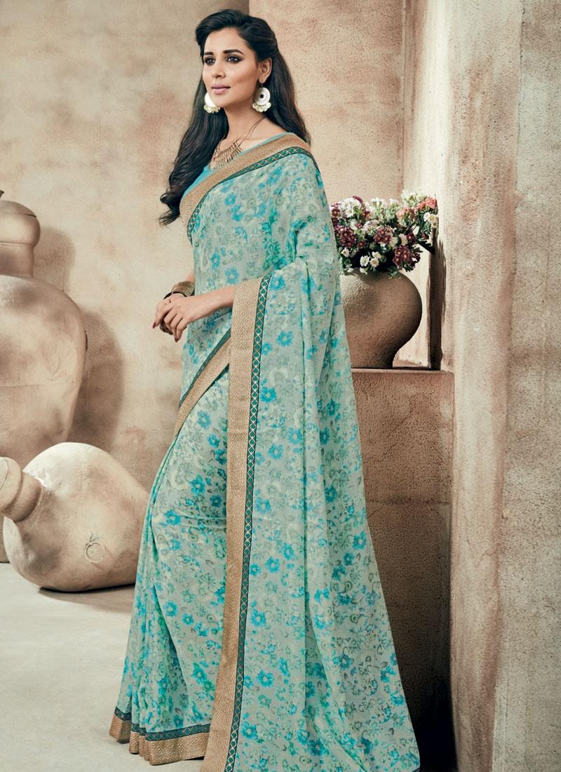 Aristocratic Aqua Blue Color Party Wear Saree