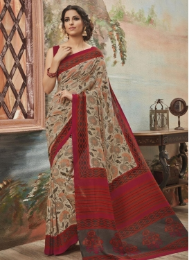 Aristocratic Art Silk Print Work Classic Saree For Casual