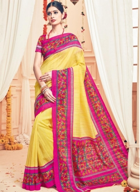 Aristocratic Art Silk Print Work Trendy Classic Saree
