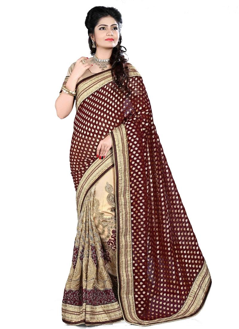 Aristocratic Beads And Resham Work Half N Half Bridal Saree
