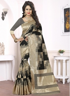 Aristocratic Beige and Black Thread Work Trendy Classic Saree