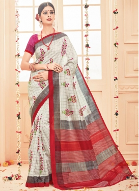 Aristocratic  Beige and Grey Print Work Contemporary Style Saree