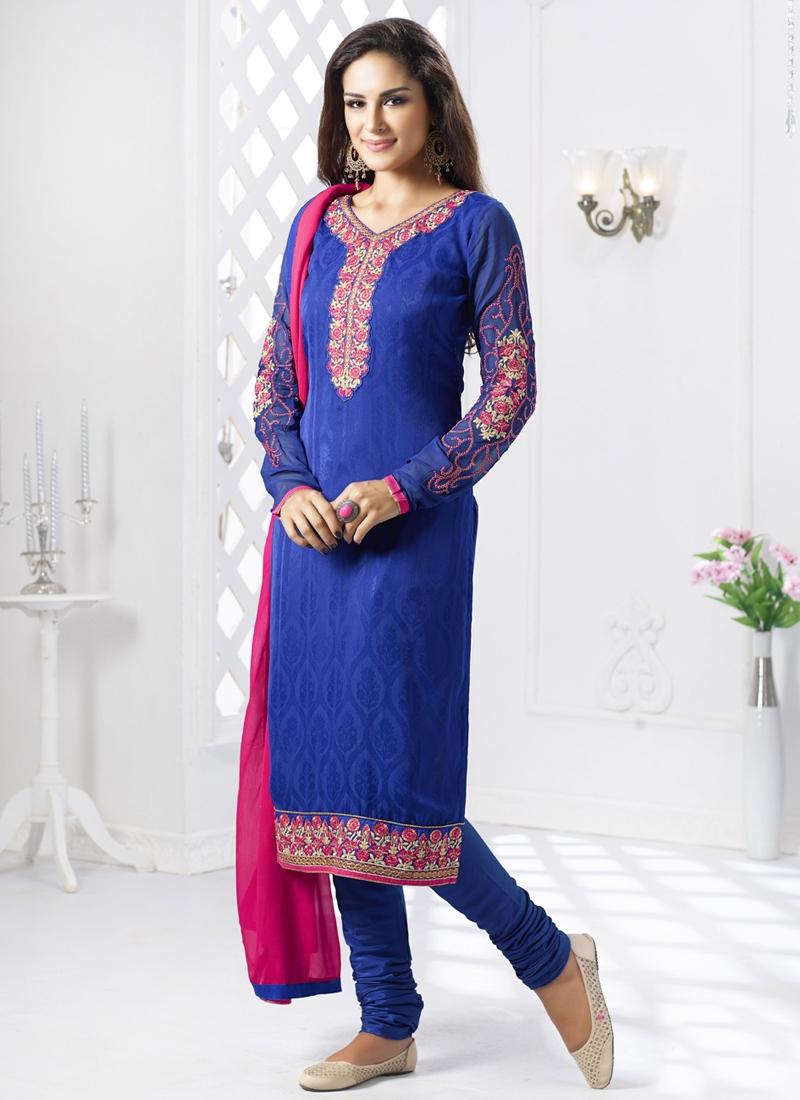 Aristocratic Blue Color Jacquard Churidar Salwar Suit