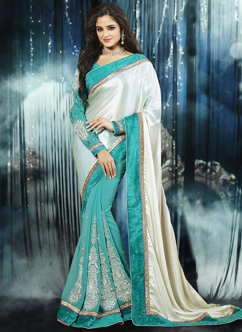 Aristocratic Booti And Lace Work Half N Half Party Wear Saree