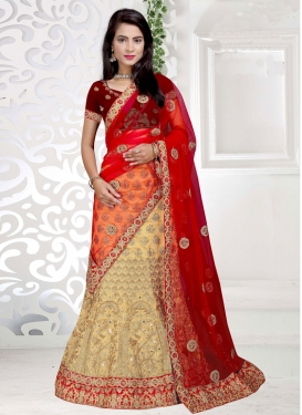 Aristocratic Cream and Red Lace Work Art Silk A Line Lehenga Choli