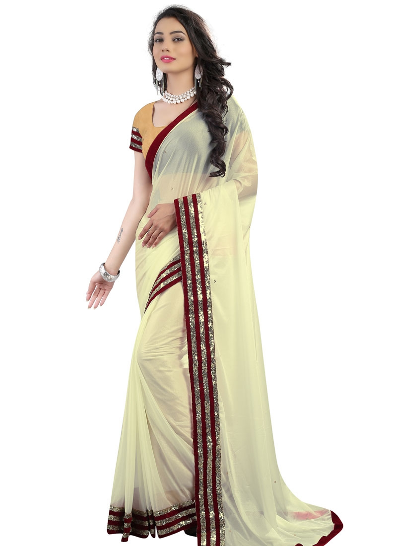 Aristocratic Cream Color Lycra Casual Saree