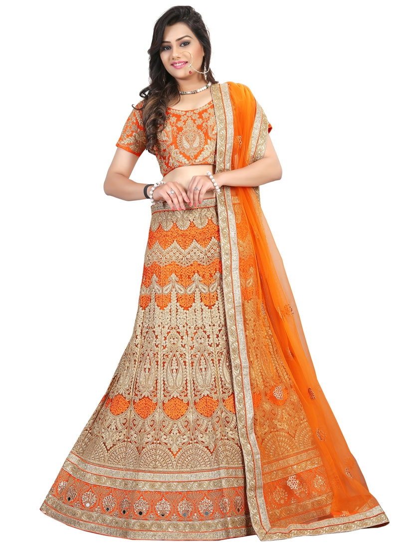 Aristocratic Embroidery And Mirror Work Bridal Lehenga Choli