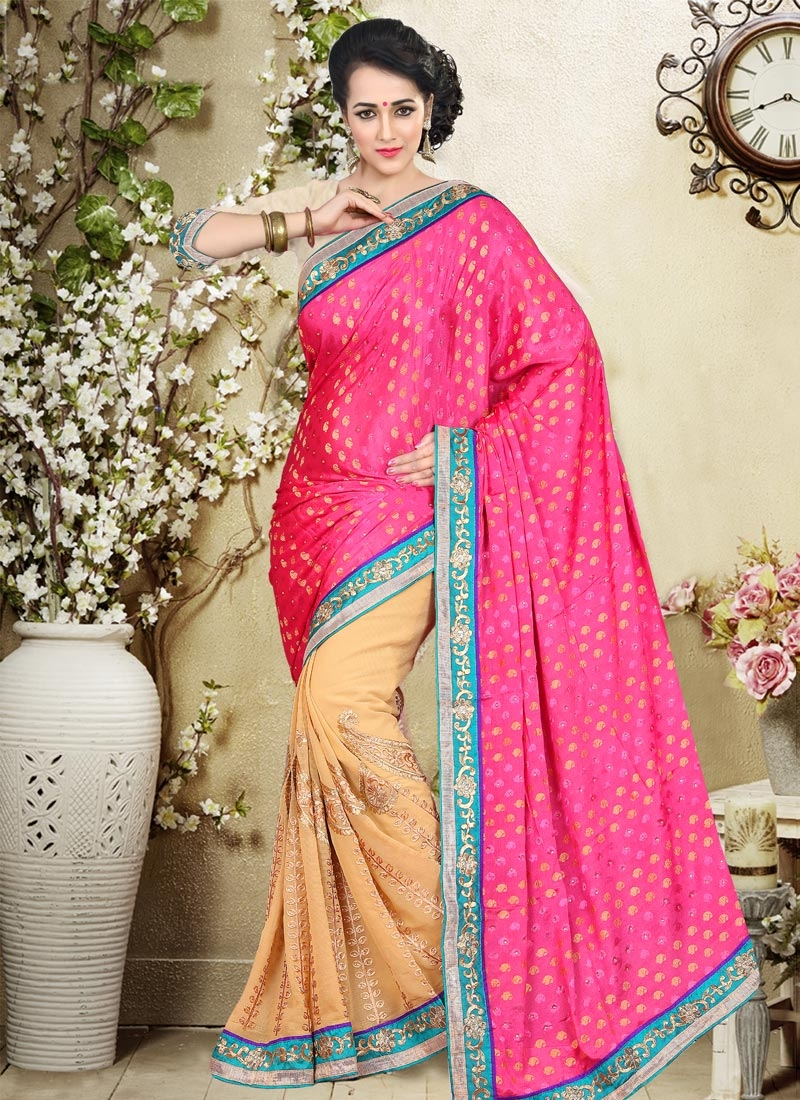 Aristocratic Faux Chiffon Lace Work Half N Half Party Wear Saree