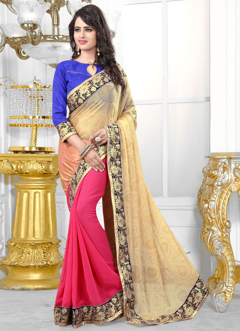 Aristocratic Faux Georgette And Lycra Half N Half Party Wear Saree