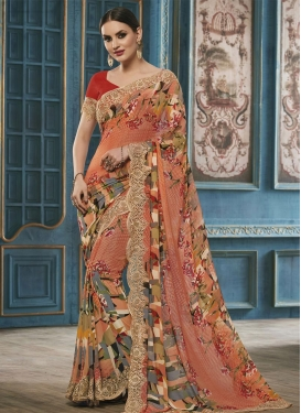 Aristocratic Faux Georgette Coral and Red Digital Print Work Trendy Saree