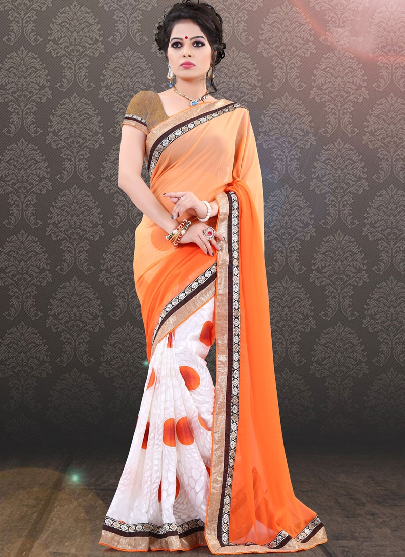 Aristocratic Faux Georgette Half N Half Party Wear Saree