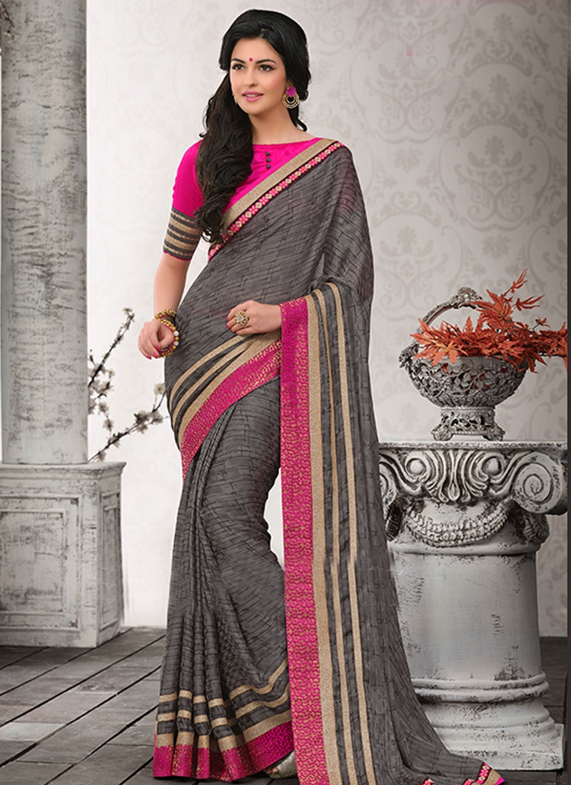 Aristocratic Gray Color Lace Work Chiffon Casual Saree