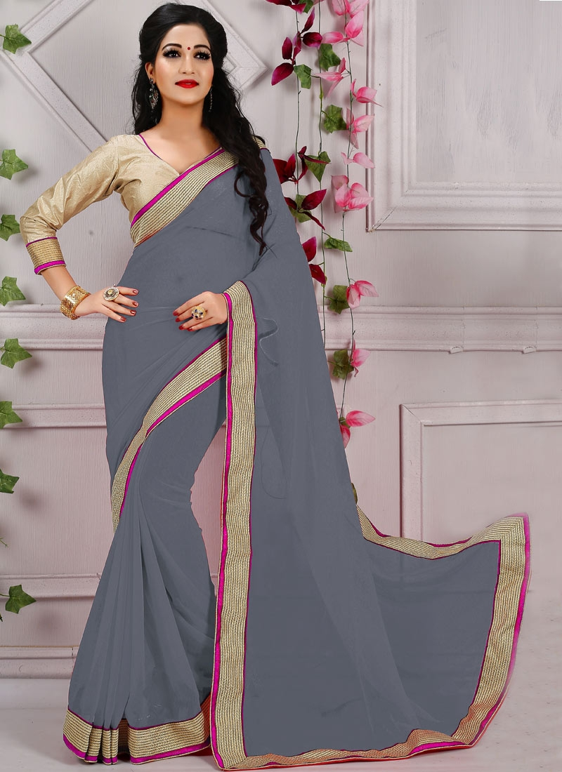 Aristocratic Lace And Resham Work Casual Saree