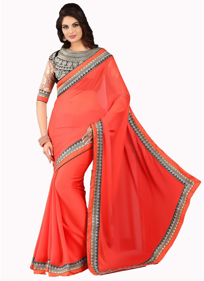 Aristocratic Lace And Resham Work Red Color Party Wear Saree
