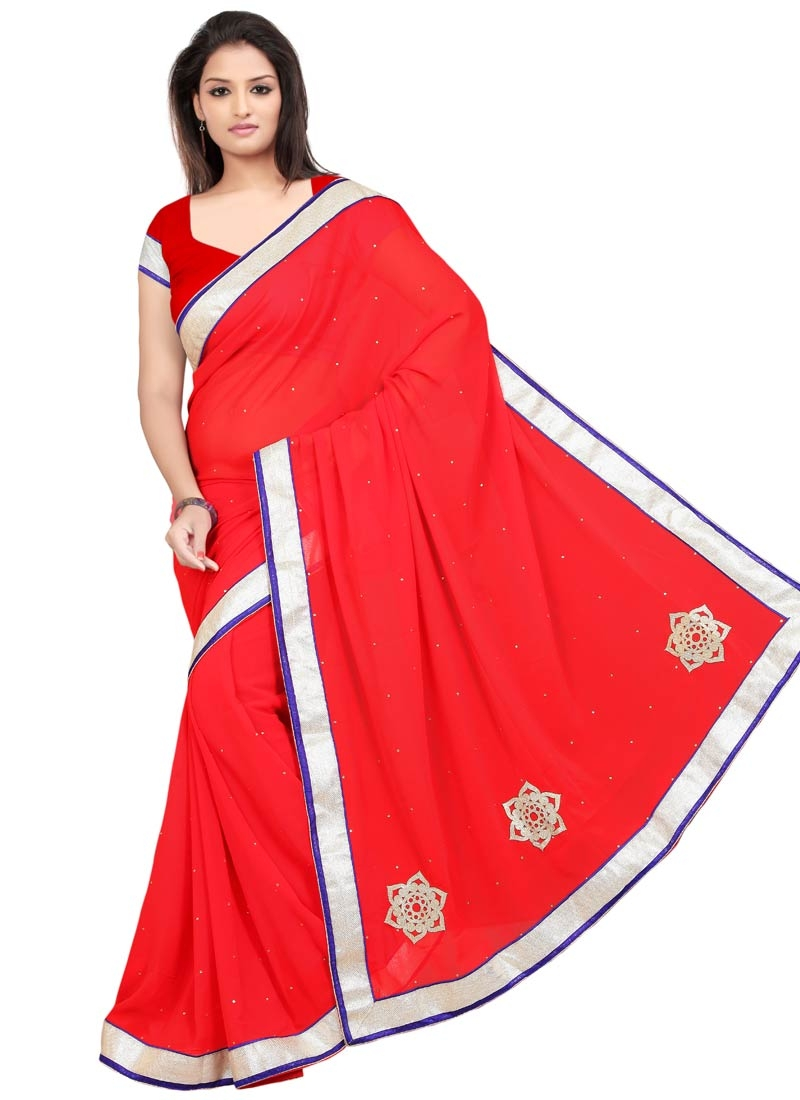 Aristocratic Lace And Stone Work Casual Saree