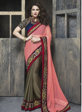 Aristocratic Lace Work Half N Half Designer Saree