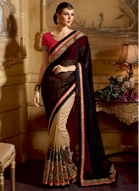 Aristocratic Lace Work Pure Georgette Half N Half Designer Saree