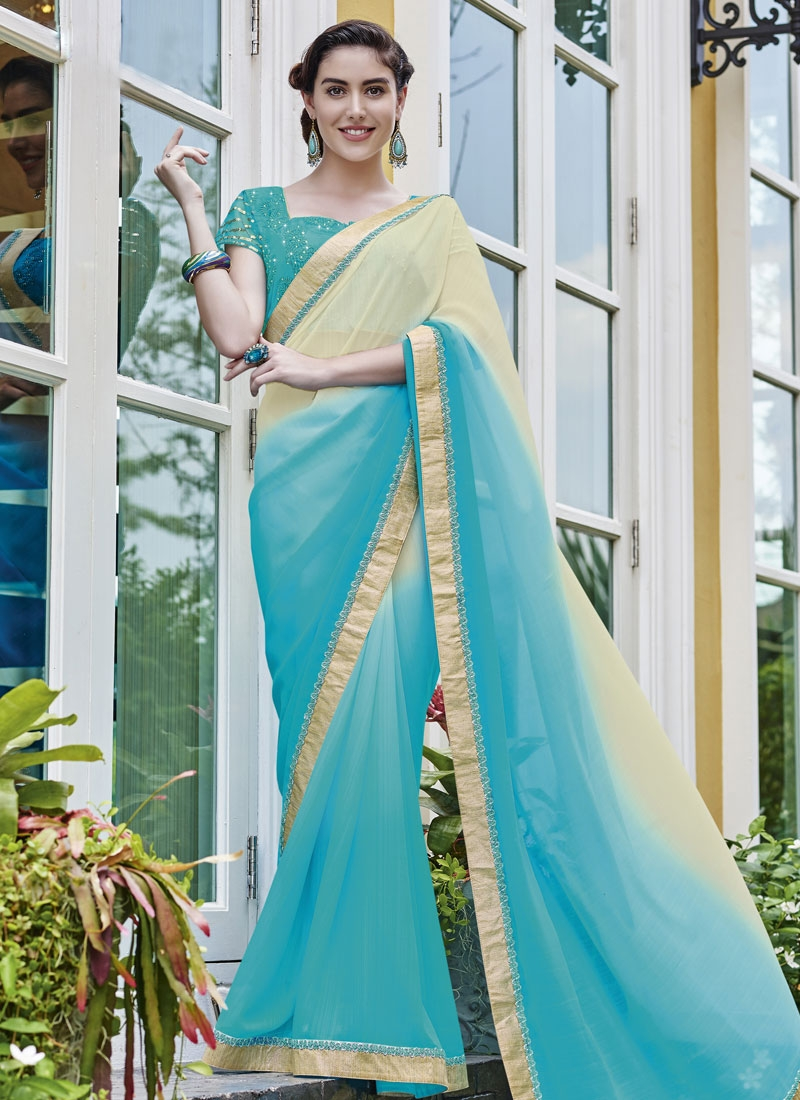 Aristocratic Light Blue Color Faux Georgette Party Wear Saree