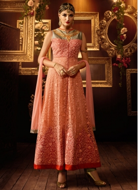 Aristocratic Net Embroidery Work Ankle Length Wedding Salwar Suit