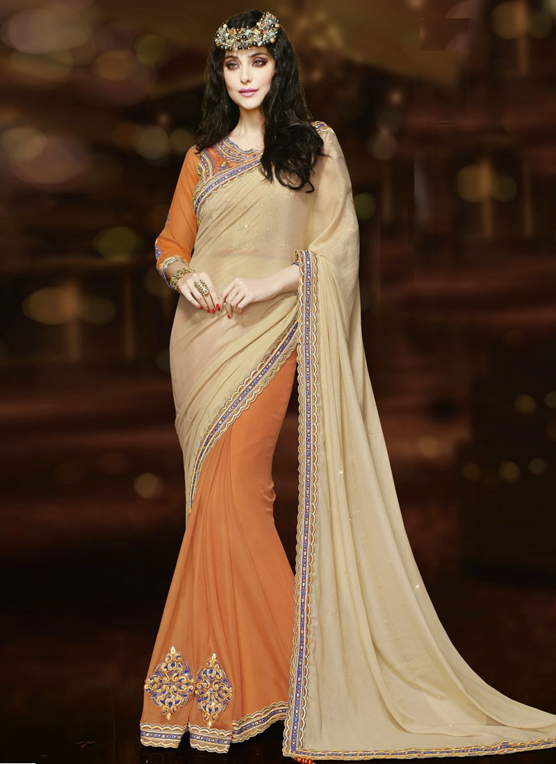Aristocratic Orange Color Half N Half Wedding Saree